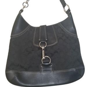 COACH Black Signature & Leather Hobo Shoulder Bag